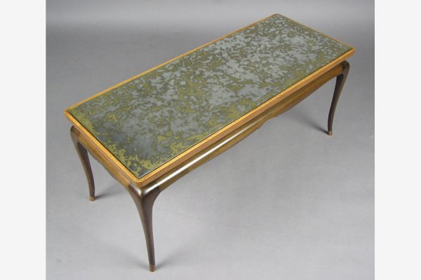 MIRRORED TOP COFFEE TABLE MODERN ART DECO STYLE 1960