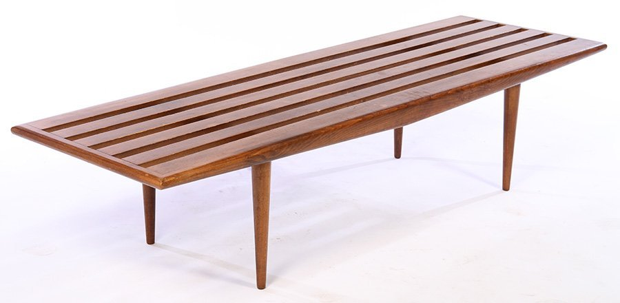 MID CENTURY SLAT SEAT COFFEE TABLE OR BENCH