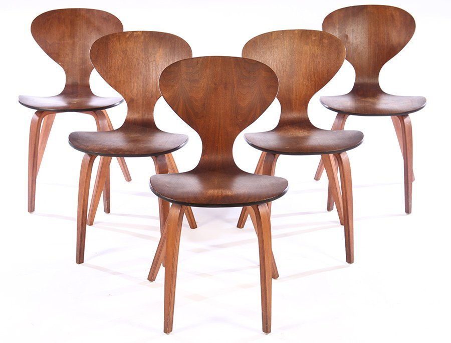 5 PLYWOOD CHAIRS MANNER OF NORMAN CHERNER C.1950