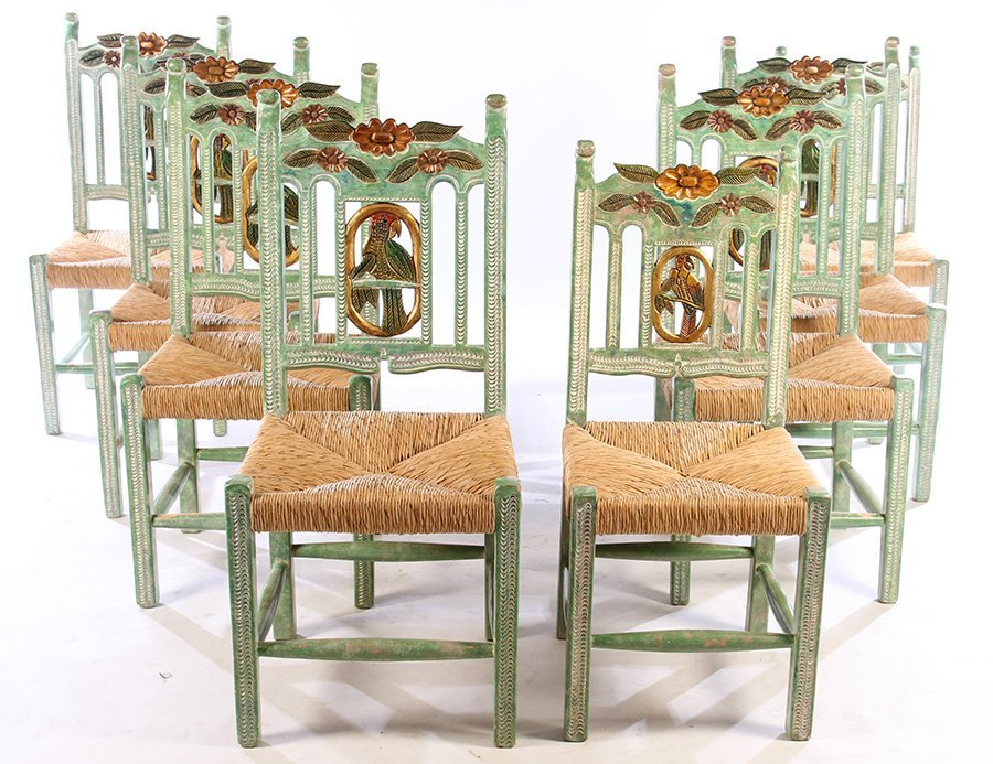 SET OF 8 CARVED & PAINTED DINING CHAIRS