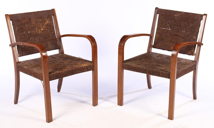 PAIR OF FRENCH MIDCENTURY MODERN ARM CHAIRS C1940