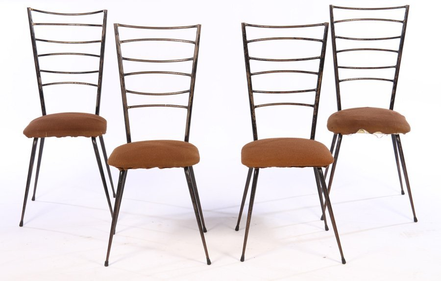SET OF 4 WROUGHT IRON MID CENTURY CHAIRS C.1950