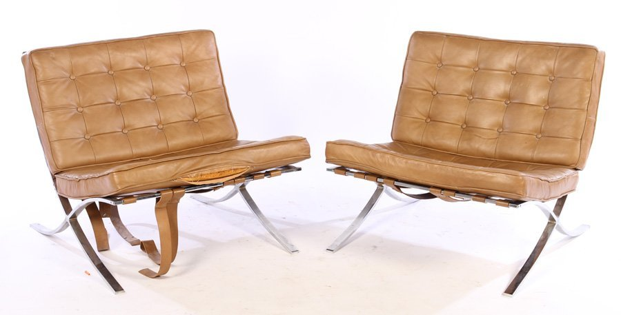 A PAIR OF BARCELONA STYLE CHAIRS LEATHER