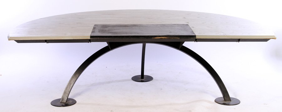 MONUMENTAL MODERN FRENCH DESK WITH DEMILUNE TOP