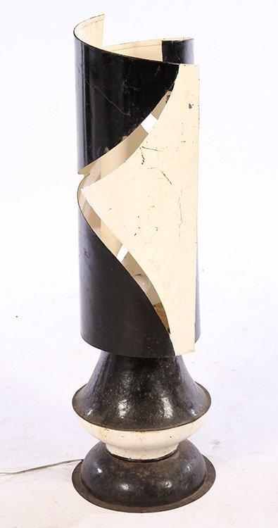 MID CENTURY MODERN CUT METAL TABLE LAMP C.1960