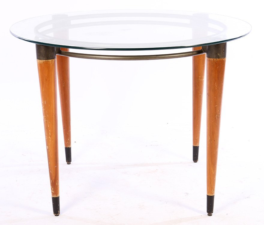 IRON AND WOOD CENTER TABLE GLASS TOP