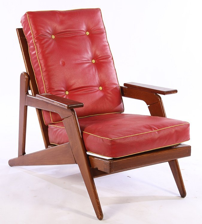 A FRENCH MID CENTURY MODERN ADJUSTABLE CHAIR