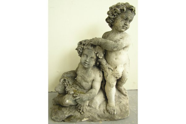 VICENZA STONE PUTTI FIGURAL GROUP FROLICKING IN GARDEN