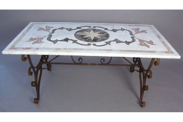 50161009: IRON BASE TRESTLE TABLE HAVING AN INLAID MARB
