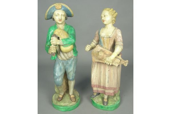 PAIR OF PAINTED TERRACOTTA FIGURES OF ELIZABETHAN INSPR