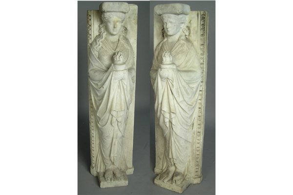 19TH C ENGLISH PAIR OF CARVED MARBLE WOMEN  MANTLE LEGS