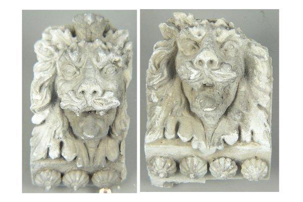 50161014: PAIR OF CAST STONE LION MASKS CIRCA 1920.
