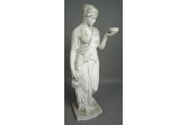 50161019: CLASSICAL CAST STONE FIGURE OF A WOMAN HOLDIN