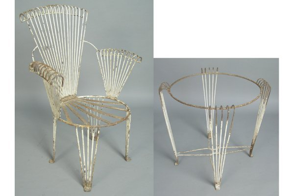 50161024: GREAT SET OF FOUR ART DECO IRON ARM CHAIRS CI