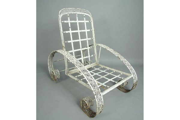 50161027: RARE PAIR OF WROUGHT IRON RECLINING CHAIRS CI