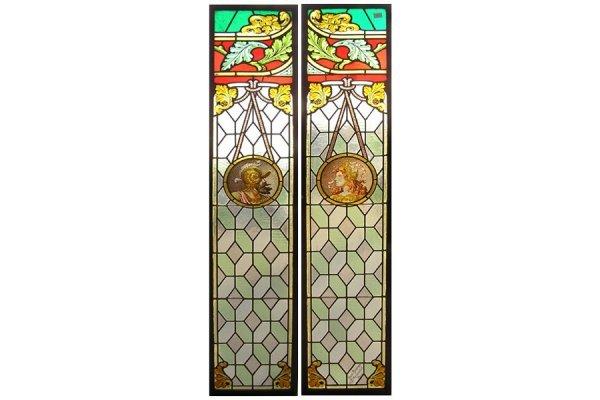 PAIR OF ELIZABETHIAN STAINED GLASS PANELS KNIGHT PARIS