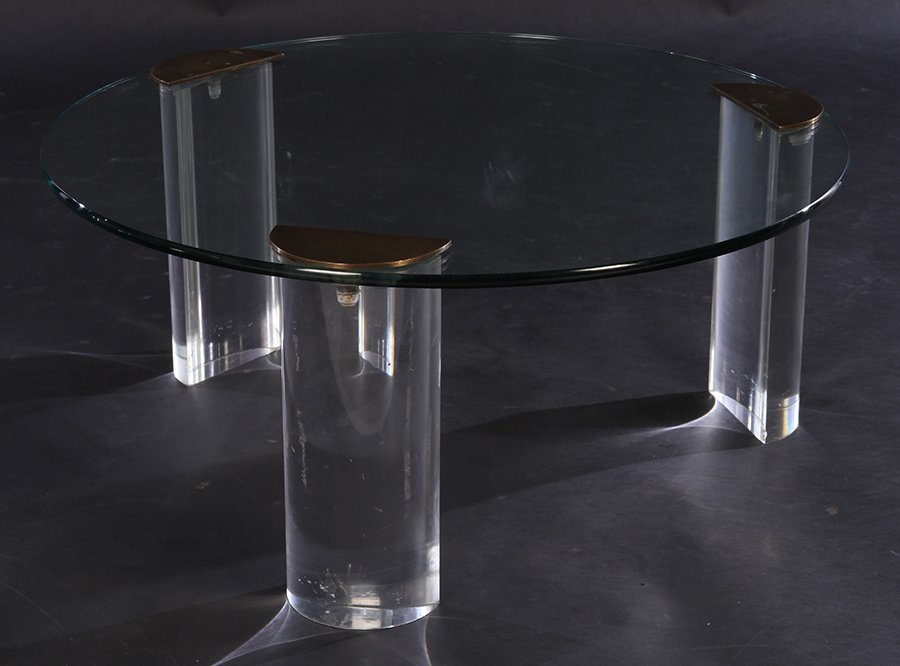 MODERN LUCITE BRONZE COFFEE TABLE GLASS TOP