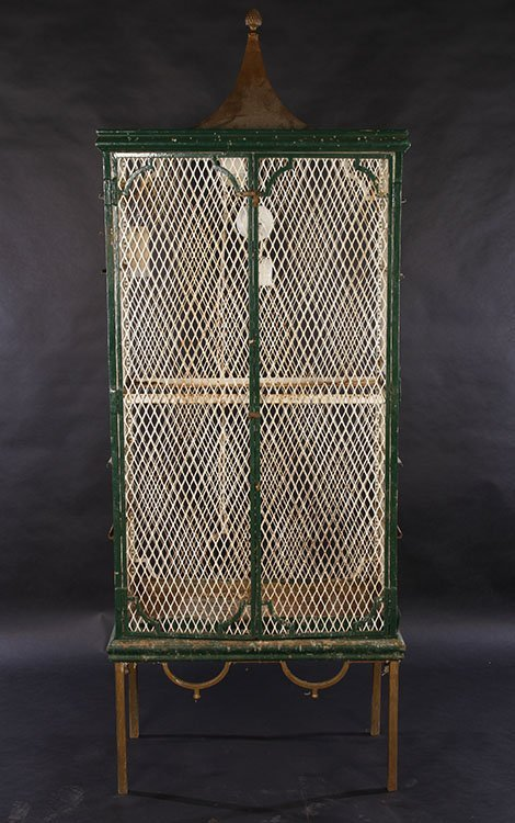 20TH CENT. PAINTED WROUGHT IRON BIRD CAGE