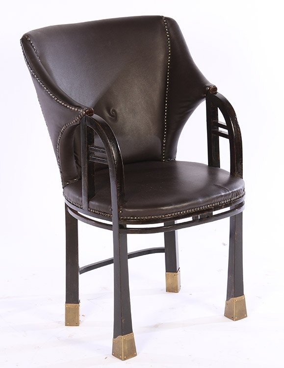 19TH CENT. SECESSIONIST ARM CHAIR UPHOLSTERED
