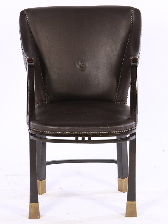 19TH CENT. SECESSIONIST ARM CHAIR UPHOLSTERED - 2