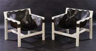 PR ITALIAN MODERN SLING SEAT LEATHER CHAIRS 1960