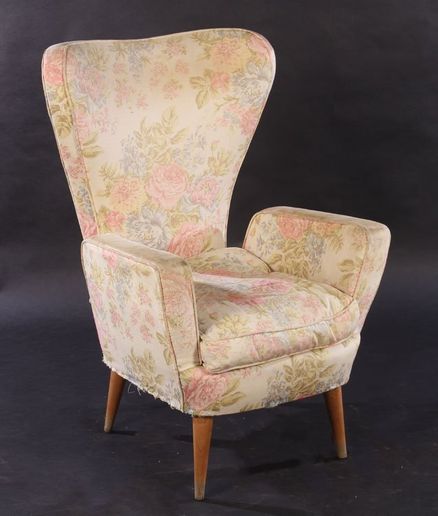 PAIR ITALIAN MODERN UPHOLSTERED CLUB CHAIRS 1960 - 2