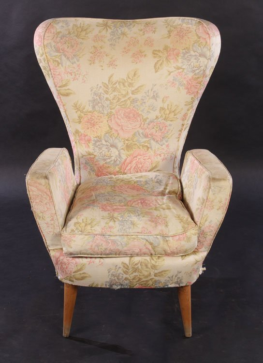 PAIR ITALIAN MODERN UPHOLSTERED CLUB CHAIRS 1960 - 3