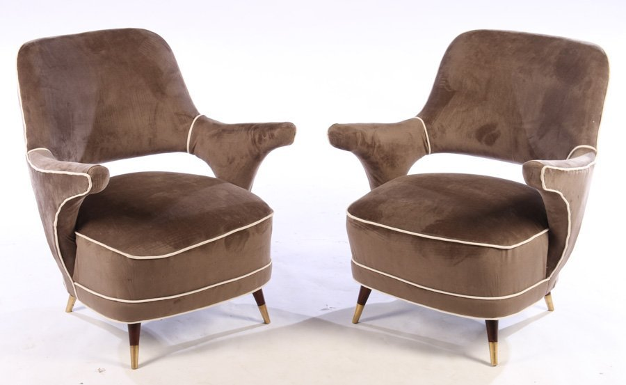 PAIR MODERN UPHOLSTERED CLUB CHAIRS 1960
