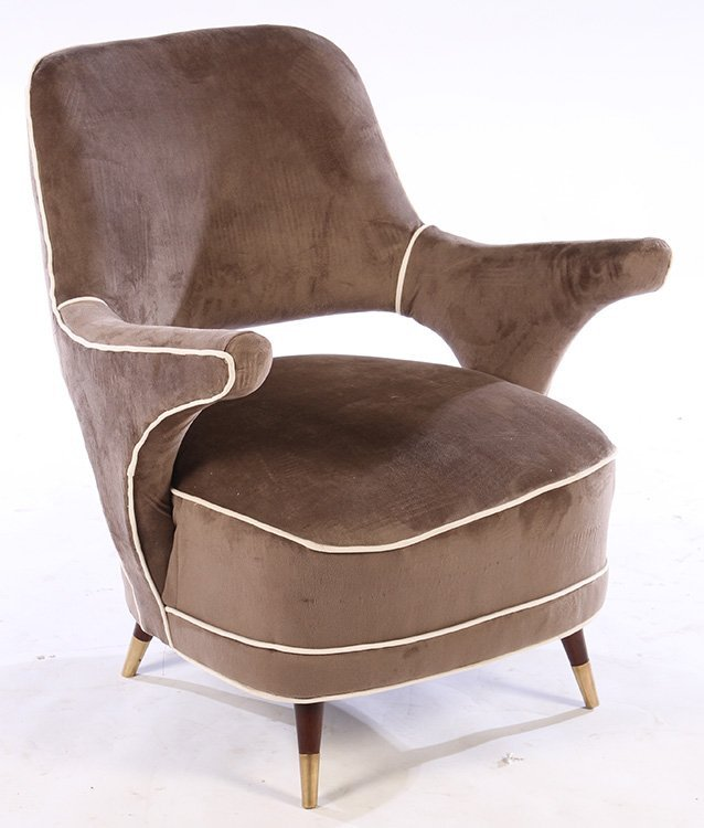 PAIR MODERN UPHOLSTERED CLUB CHAIRS 1960 - 2