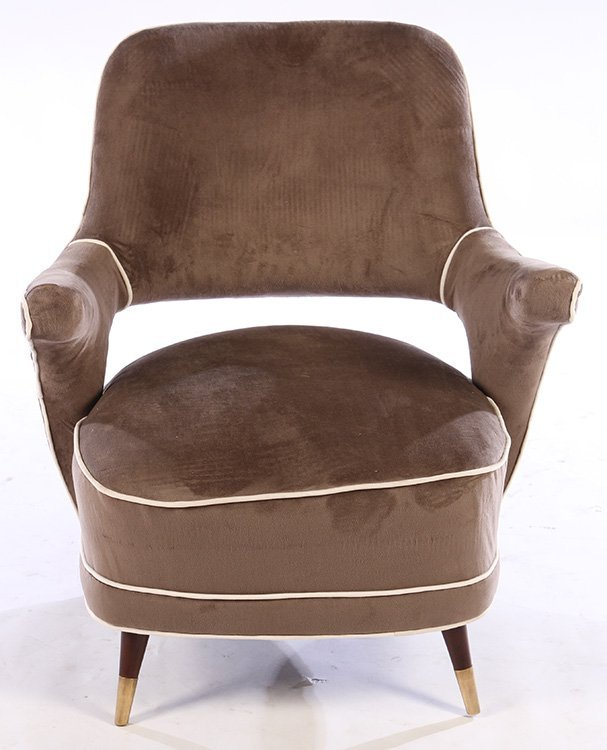PAIR MODERN UPHOLSTERED CLUB CHAIRS 1960 - 3