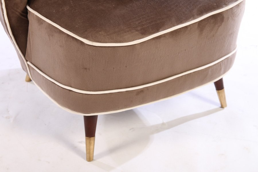 PAIR MODERN UPHOLSTERED CLUB CHAIRS 1960 - 5