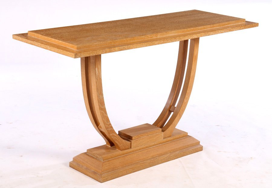 ART DECO OAK CONSOLE TABLE STEPPED TOP