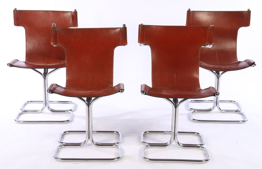 SET 4 MODERN CHROME LEATHER CHAIRS 1970