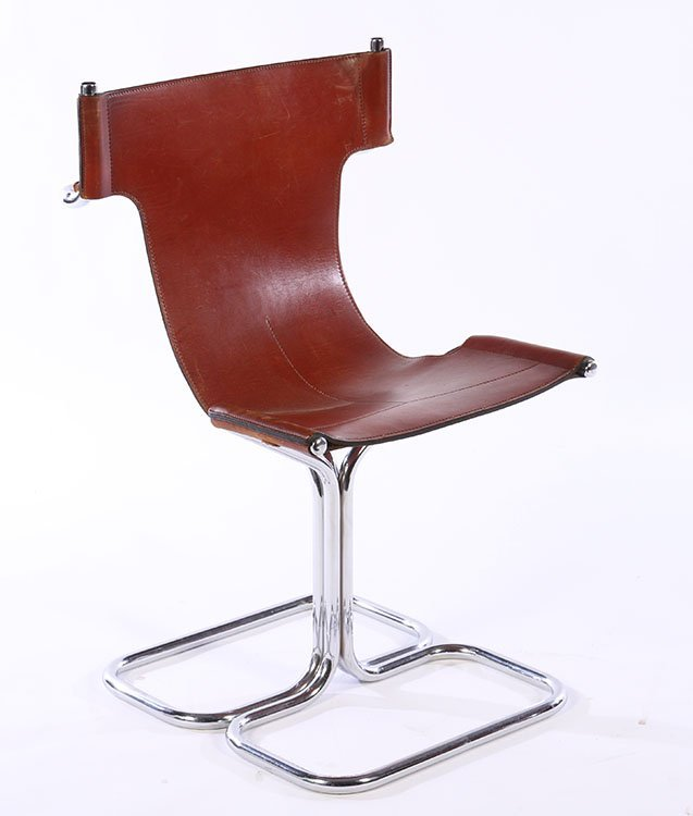 SET 4 MODERN CHROME LEATHER CHAIRS 1970 - 2