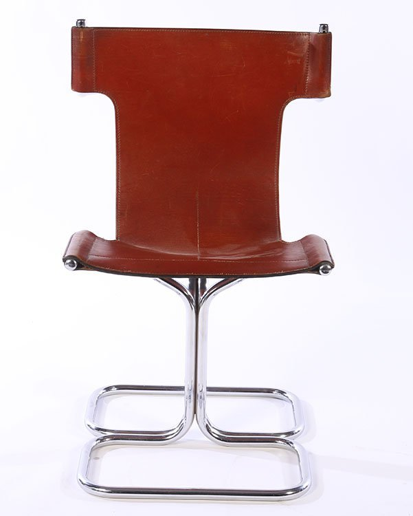 SET 4 MODERN CHROME LEATHER CHAIRS 1970 - 3