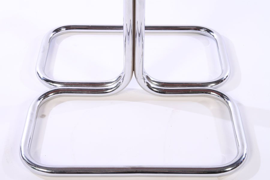 SET 4 MODERN CHROME LEATHER CHAIRS 1970 - 5