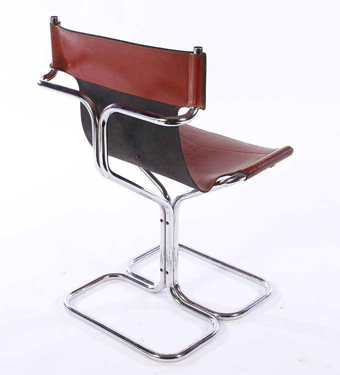 SET 4 MODERN CHROME LEATHER CHAIRS 1970 - 6