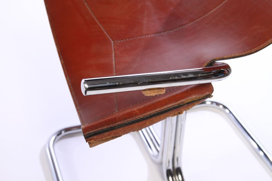 SET 4 MODERN CHROME LEATHER CHAIRS 1970 - 7