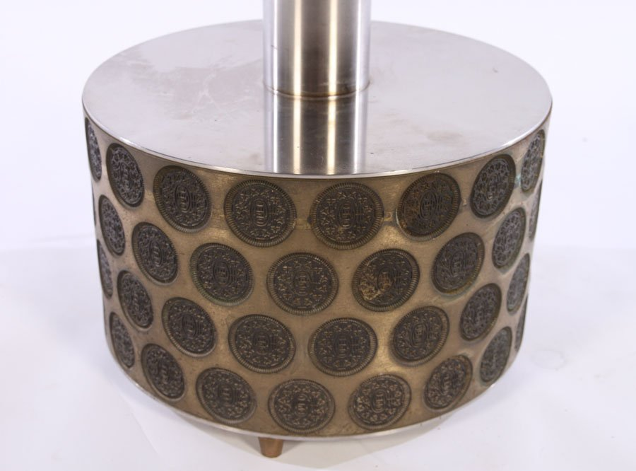 UNUSUAL MACHINED OREO COOKIE PRESS TABLE LAMP - 2