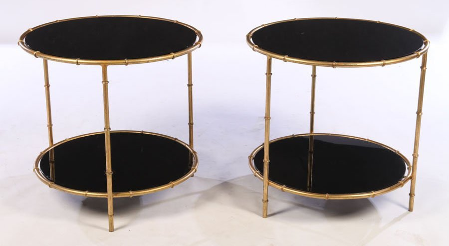 PAIR GILT METAL FAUX BAMBOO SIDE TABLES GLASS TOP