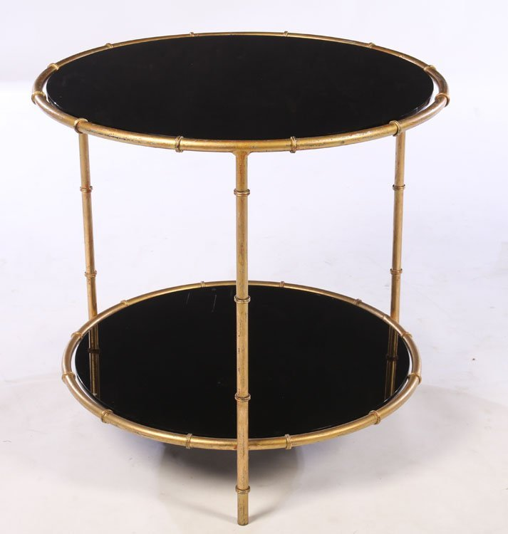 PAIR GILT METAL FAUX BAMBOO SIDE TABLES GLASS TOP - 2