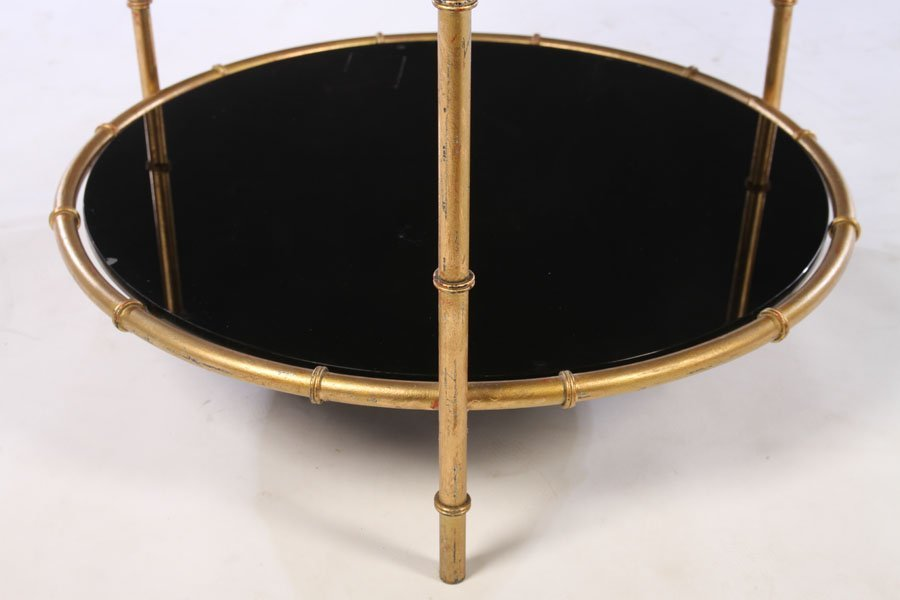 PAIR GILT METAL FAUX BAMBOO SIDE TABLES GLASS TOP - 5