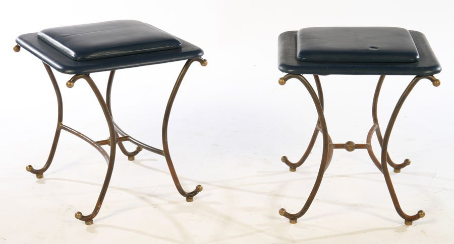 PAIR OF WROUGHT IRON STOOLS UPHOLSTERED 1960