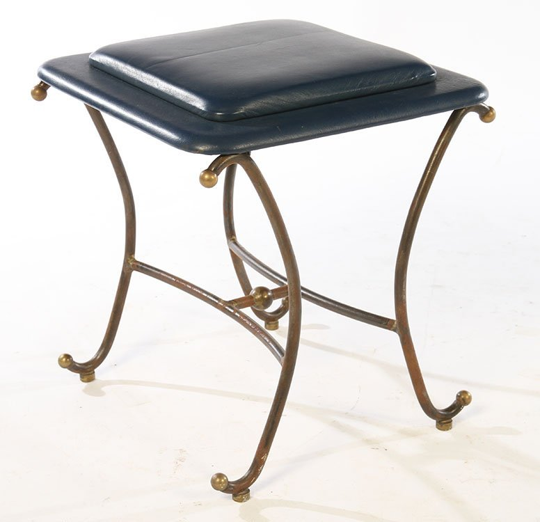 PAIR OF WROUGHT IRON STOOLS UPHOLSTERED 1960 - 2