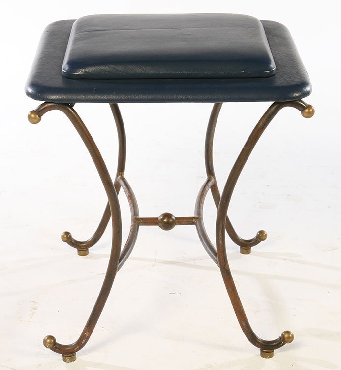PAIR OF WROUGHT IRON STOOLS UPHOLSTERED 1960 - 3