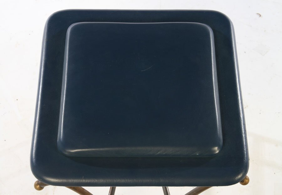 PAIR OF WROUGHT IRON STOOLS UPHOLSTERED 1960 - 4