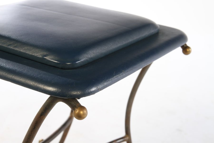 PAIR OF WROUGHT IRON STOOLS UPHOLSTERED 1960 - 5
