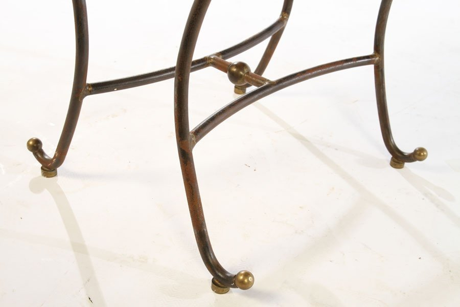 PAIR OF WROUGHT IRON STOOLS UPHOLSTERED 1960 - 6