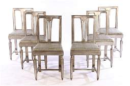 SET 6 CARVED SILVER GILT DINING CHAIRS SLIP SEATS