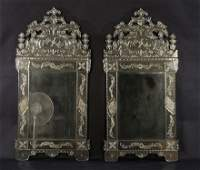 PAIR VENETIAN MIRRORS ETCHED DECORATION BEVELED